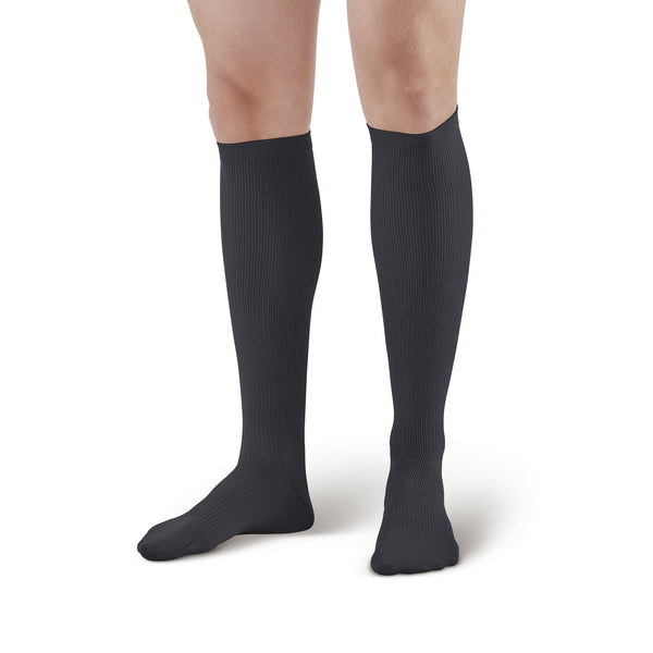 AW Style 100 Men's Knee High Dress Socks - 20-30 mmHg Black