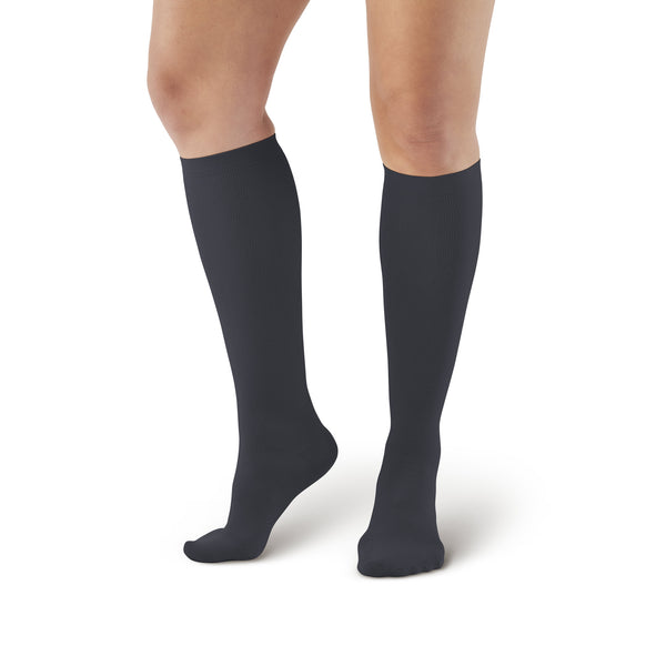 AW Style 112 Women's Microfiber Knee High Socks - 15-20 mmHg - Black
