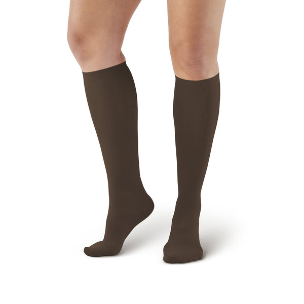AW Style 112 Women's Microfiber Knee High Socks - 15-20 mmHg - Brown