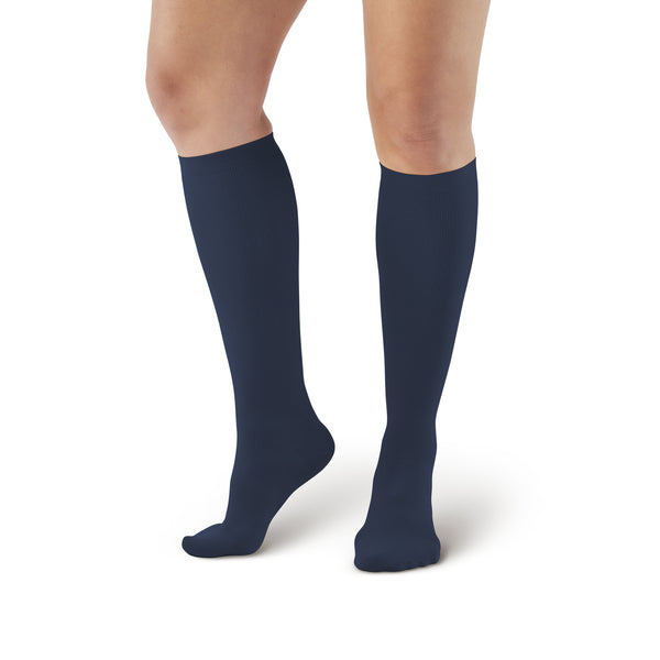 AW Style 167 Women's Travel Knee High Socks - 15-20 mmHg - Navy