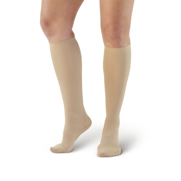 AW Style 167 Women's Travel Knee High Socks - 15-20 mmHg - Tan