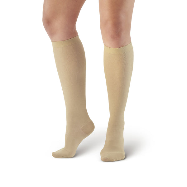 AW Style 169 Women's Cotton Travel Knee High Socks - 15-20 mmHg - Tan