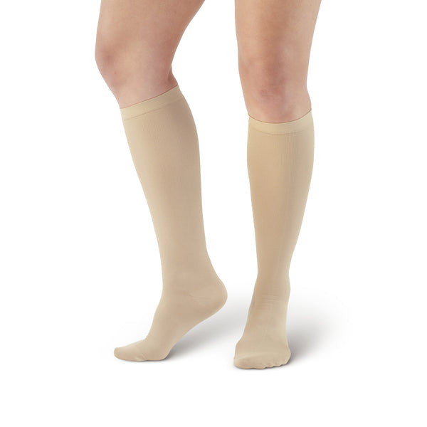 Ames Walker Women's Microfiber Knee High Trouser Socks Nude