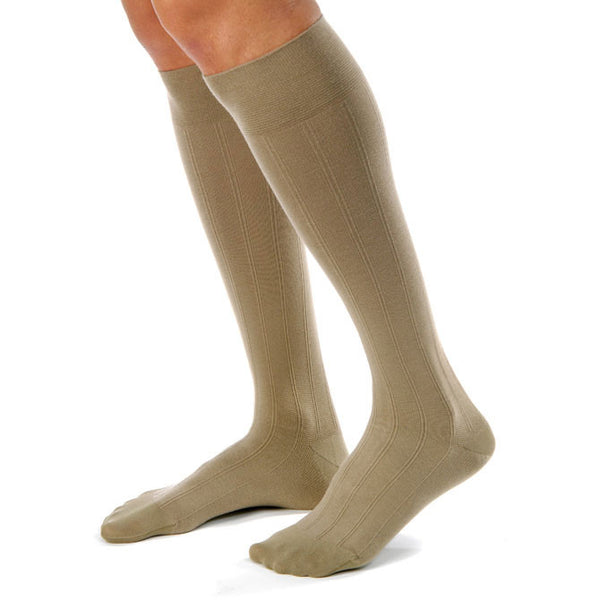 Jobst for Men Casual Closed Toe Knee High Socks Khaki- 20-30 mmHg
