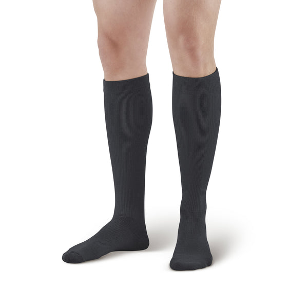 AW Style 632/633 Diabetic Knee High Socks - 8-15 mmHg - Black