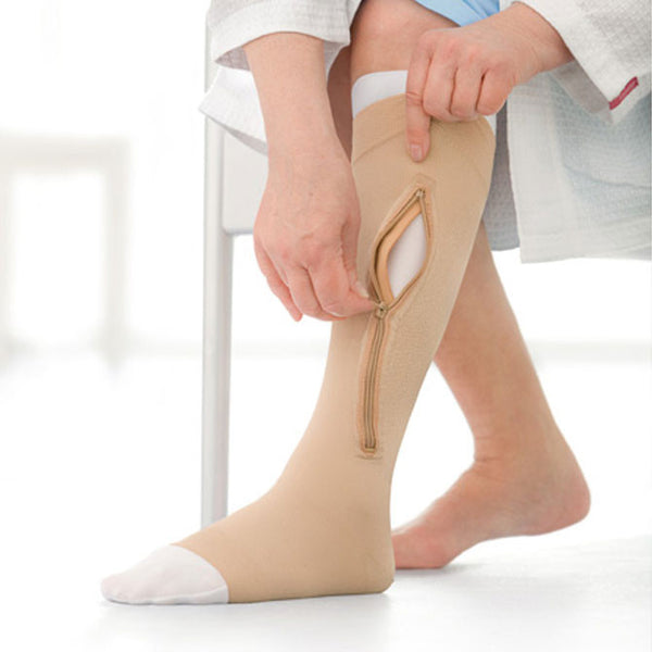 Jobst Ulcercare Stocking w/Left Zipper and Liners - 40 mmHg