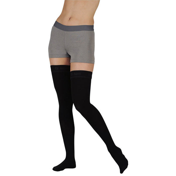 Juzo 2002 Soft Open Toe Thigh Highs w/Silicone Band Border - 30-40 mmHg