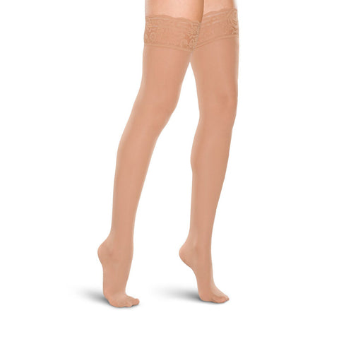 Therafirm Women's Closed Toe Thigh Highs w/ Lace Band - 20-30 mmHg