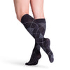 Sigvaris 832 Microfiber Shades Men's Closed Toe Knee High Socks - 20-30 mmHg Onyx Argyle