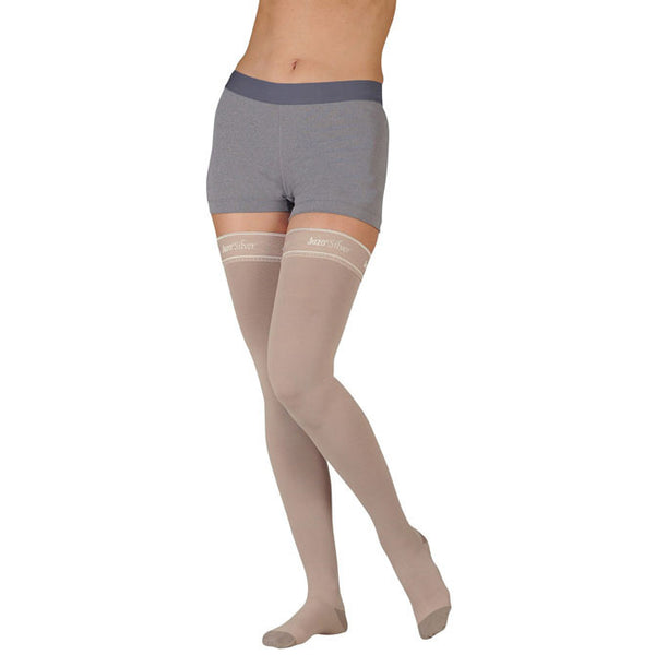 Juzo 2061 Silver Soft Closed Toe Thigh Highs w/ Silicone Band - 20-30 mmHg