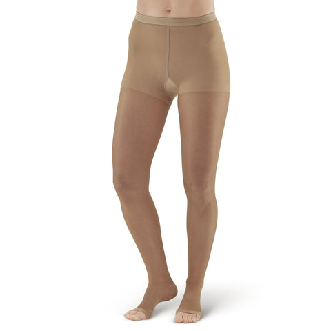 AW Style 15OT Sheer Support Open Toe Pantyhose - 15-20 mmHg - Beige