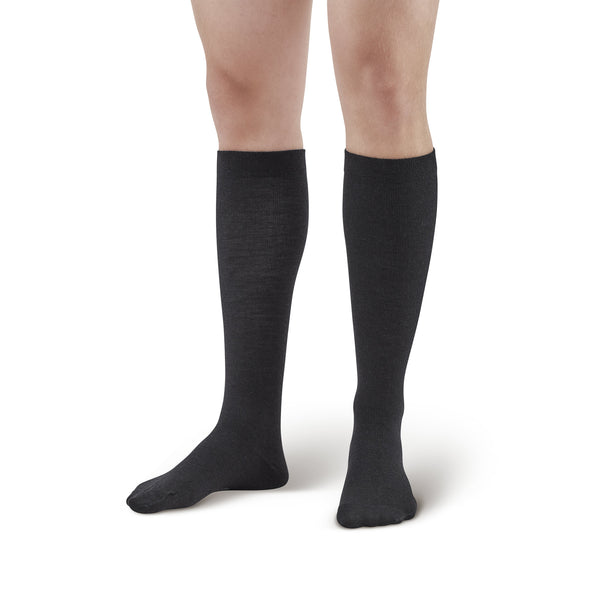 AW Style 162 Men's Wool Knee High Dress Socks - 20-30 mmHg - Black