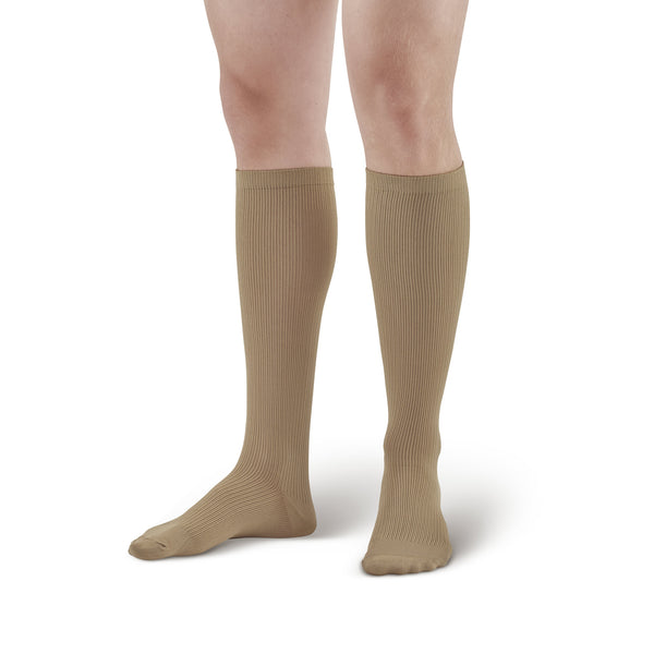 AW Style 166 Men's Travel Knee High Socks - 15-20 mmHg - Khaki
