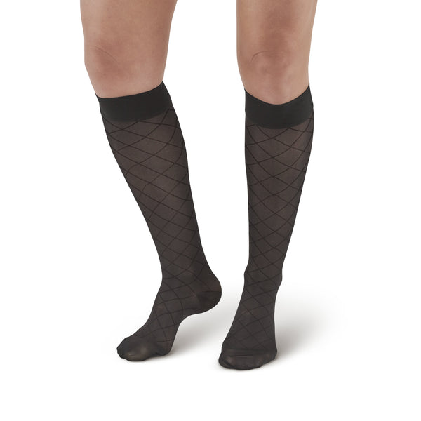 AW Style 17 Sheer Support Diamond Pattern Closed Toe Knee Highs - 15-20 mmHg - Black