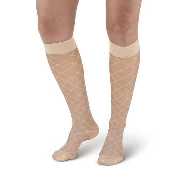 AW Style 17 Sheer Support Diamond Pattern Closed Toe Knee Highs - 15-20 mmHg - Nude