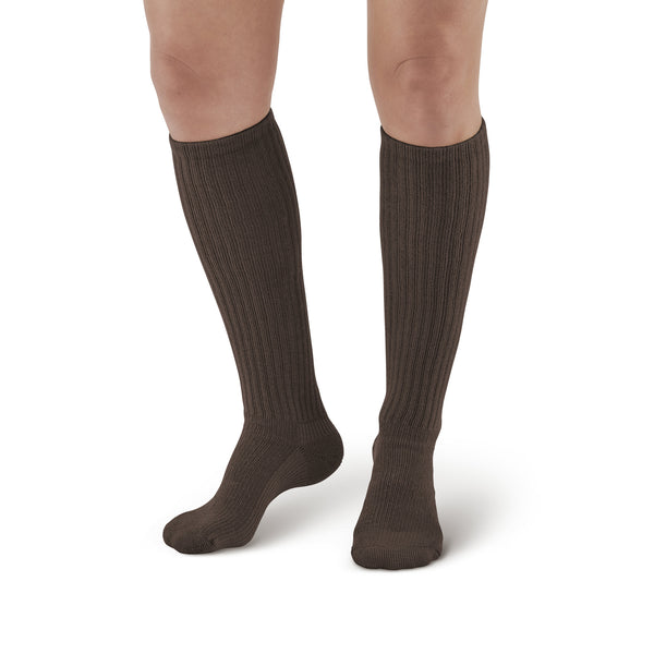 AW Style 185 E-Z Walker Sport Knee High Socks - 8-15 mmHg - Brown