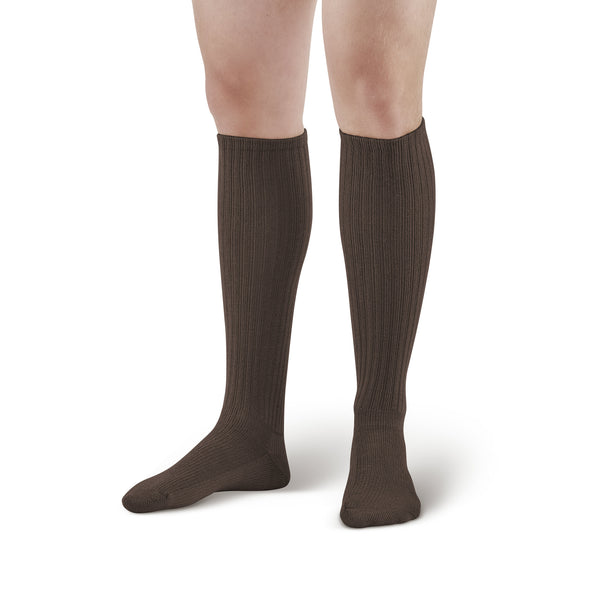 AW Style 180 E-Z Walker Plus Diabetic Knee Highs Socks for Sensitive Feet - 8-15 mmHg - Brown