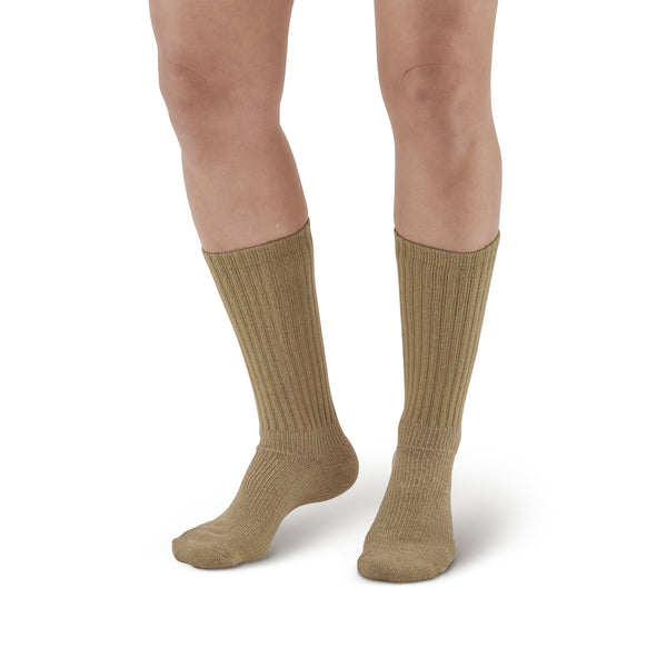 AW Style 190 E-Z Walker Plus Diabetic Crew Socks for Sensitive Feet - 8-15 mmHg - Khaki