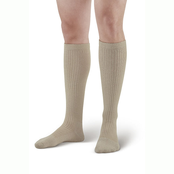 AW Men's Casual Knee High Socks - 15-20 mmHg Tan