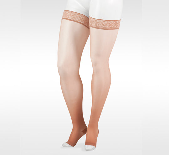 Juzo 2100 Naturally Sheer Open Toe Thigh Highs w/Silicone Band - 15-20 mmHg