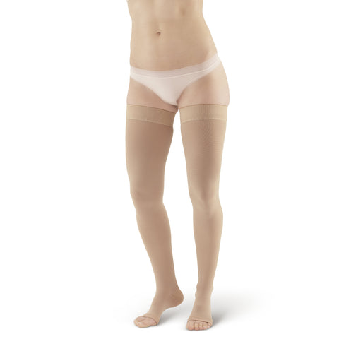AW Style 212 Medical Support Open Toe Thigh Highs w/ Sili Dot Band - 20-30 mmHg - Beige