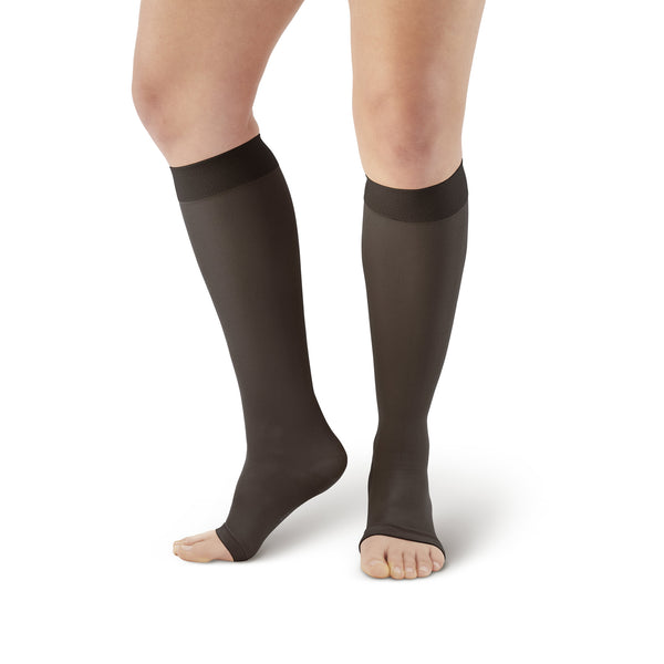 AW Style 213 Microfiber Opaque Knee Highs Open Toe - 20-30 mmHg
