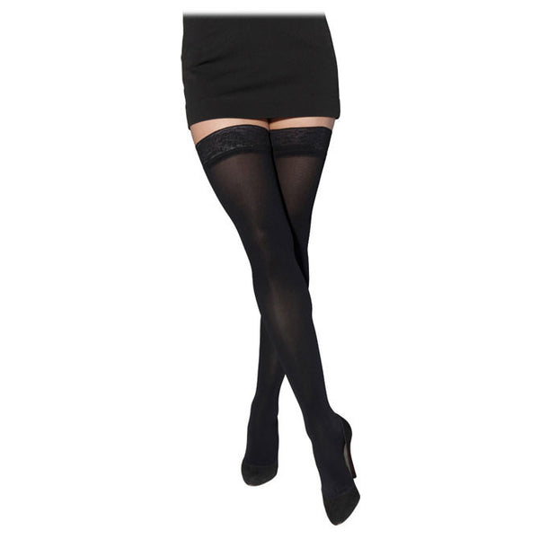 Sigvaris 843 Soft Opaque Open Toe Thigh Highs w/ Grip Top - 30-40 mmHg