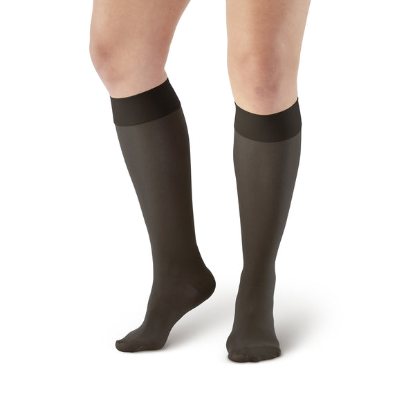 AW Style 235 Signature Sheers Closed Toe Knee Highs - 15-20 mmHg - Black