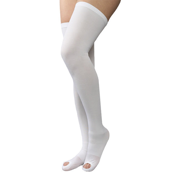 Therafirm Men's and Women's Anti-Embolism Open Toe Thigh-High Stockings -18 mmHg