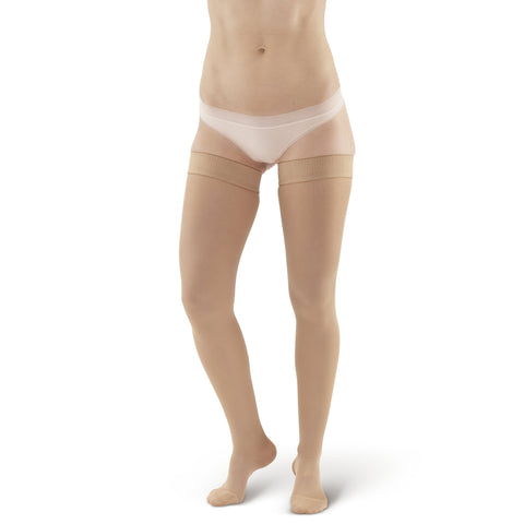 AW Style 257 Microfiber Opaque Closed Toe Thigh High w/Dot  Silicone Band  - 15-20 mmHg - Sand