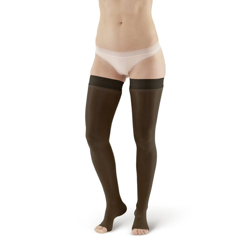 AW Style 262 Signature Sheers Open Toe Thigh Highs w/Dot Band - 15-20 mmHg - Black