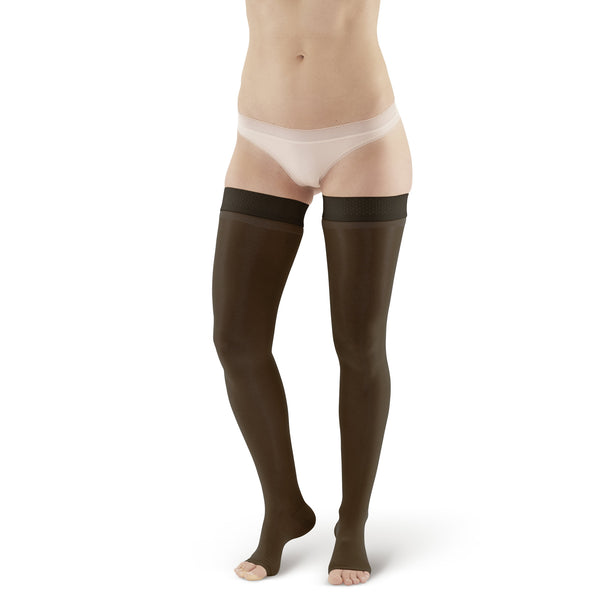 AW Style 366 Signature Sheers Open Toe Thigh Highs w/Sil. Dot Band - 30-40 mmHg - Black