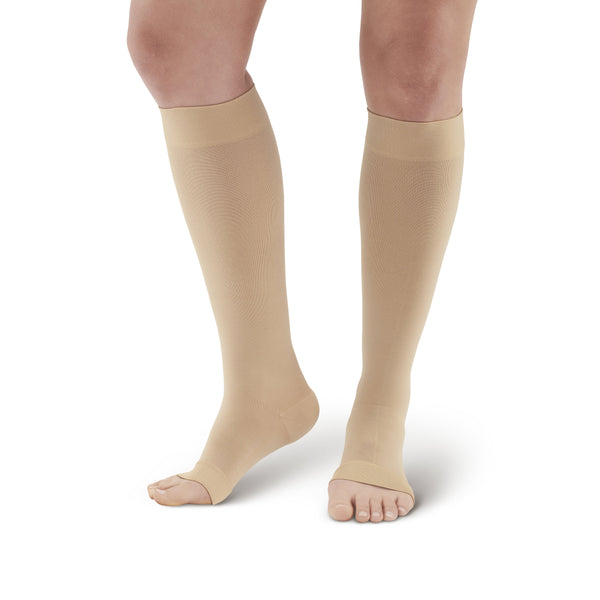 AW Style 391OT Luxury Opaque Open Toe Knee Highs - 30-40 mmHg Beige
