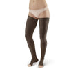 AW Style 392OT Luxury Opaque Open Toe Thigh Highs w/Dot Sil Band - 30-40 mmHg Black