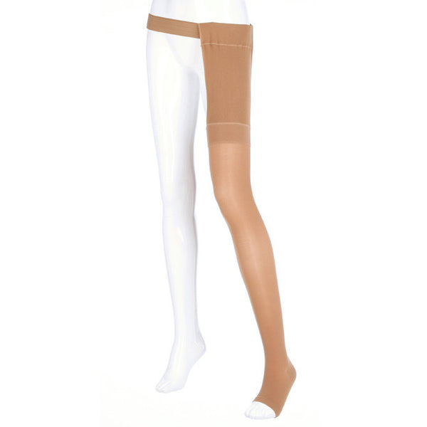 Medi Plus Open Toe Thigh Highs w/Waist Attachment LFT - 40-50 mmHg