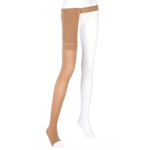 Medi Plus Open Toe Thigh Highs w/Waist Attachment RGT - 40-50 mmHg