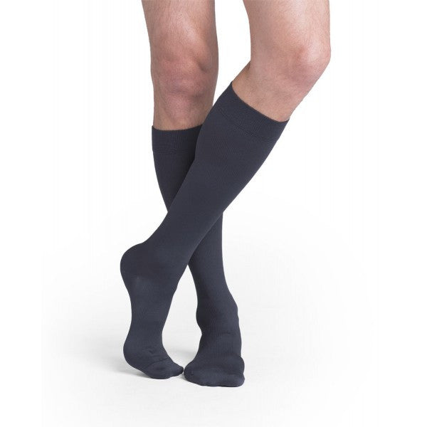 Sigvaris 822 Men's Midtown Microfiber Knee Highs w/ Grip Top - 20-30 mmHg - Black