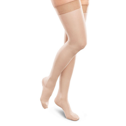 Therafirm EASE Opaque Women's Thigh Highs w/Silicone Band - 15-20 mmHg