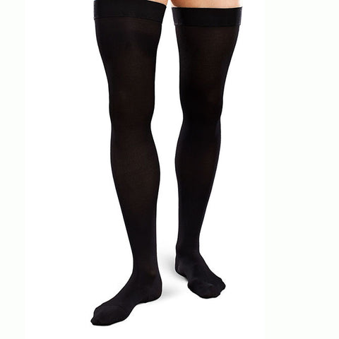 Therafirm EASE Opaque Men's Thigh Highs w/Silicone Band - 15-20 mmHg - Black