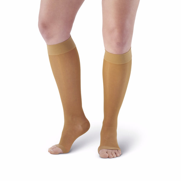 AW Style 41 Sheer Support Open Toe Knee Highs - 15-20 mmHg - Beige