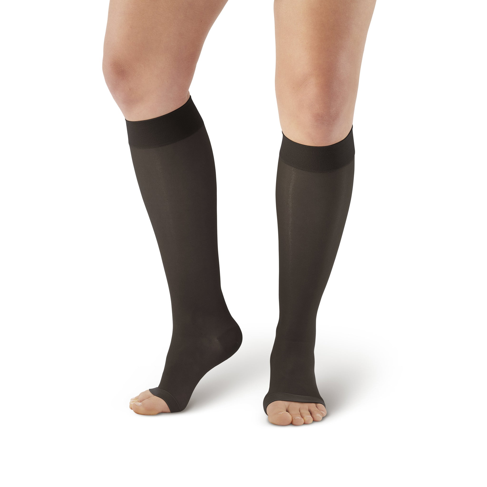 a480a58e87 ... AW Style 41 Sheer Support Open Toe Knee Highs - 15-20 mmHg - Black ...