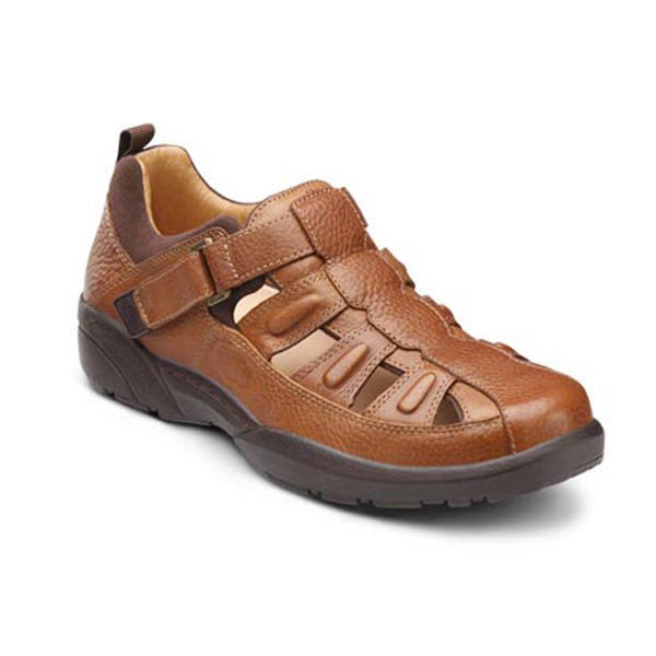 Dr. Comfort Men's Fisherman Casual Open Air Shoes - Chestnut