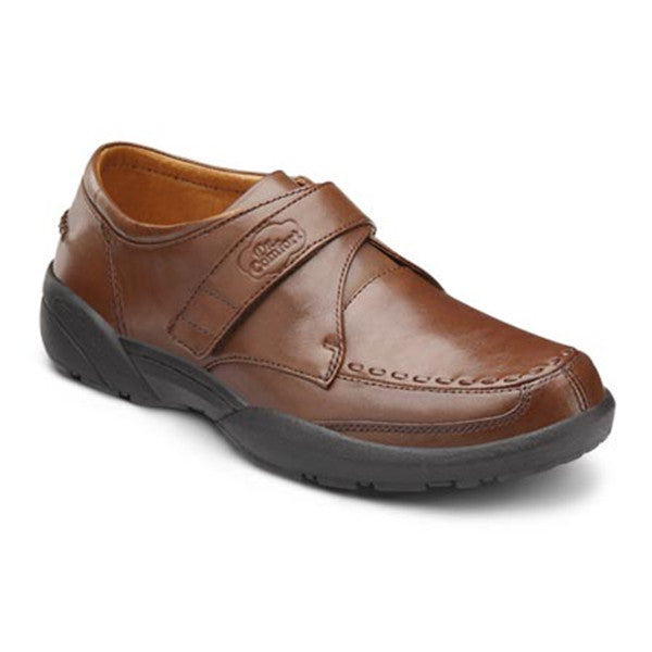 Dr. Comfort Men's Frank Velcro Dress Shoes - Bark