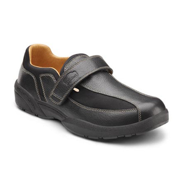 Dr. Comfort Men's Douglas Leather w/Stretch Band Shoes - Black