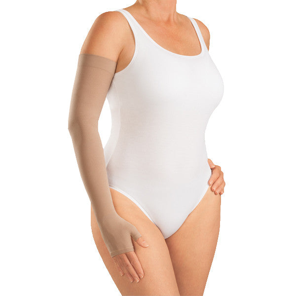 Medi Harmony Lymphedema Armsleeve w/Gauntlet Silicone Top Band - 30-40 mmHg - Sand