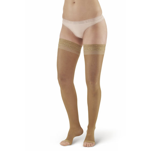 AW Style 48 Sheer Support Open Toe Thigh Highs w/ Lace Band - 20-30 mmHg - Beige