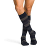 Sigvaris 832 Microfiber Shades Men's Closed Toe Knee High Socks - 20-30 mmHg - Dark Navy Stripe