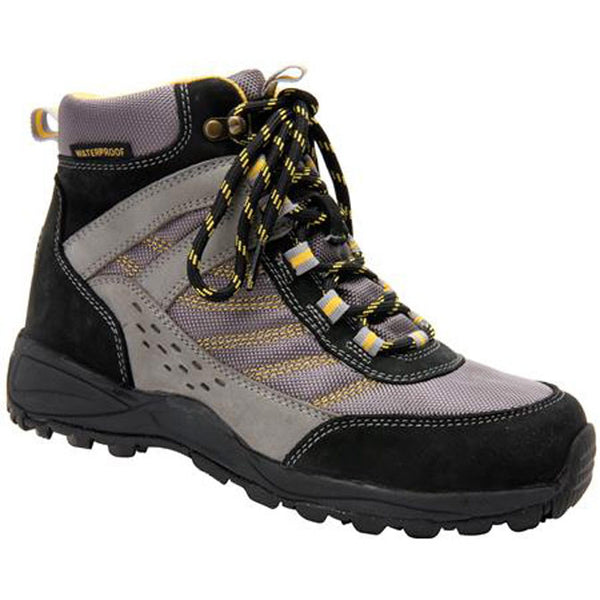 Drew Women's Glacier Boots - Black/Grey Nubuck with Yellow