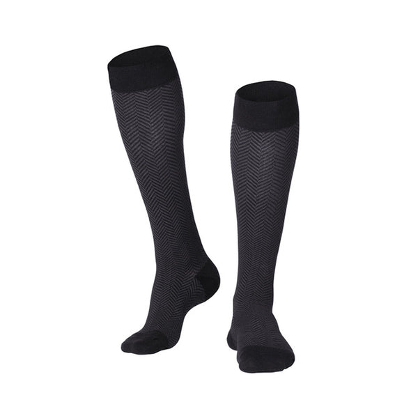 Touch Compression Men's Herringbone Pattern Socks - 15-20 mmHg - Black