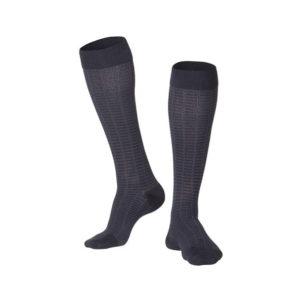 Touch Compression Men's Fine Checkered Pattern Socks - 15-20 mmHg - Black